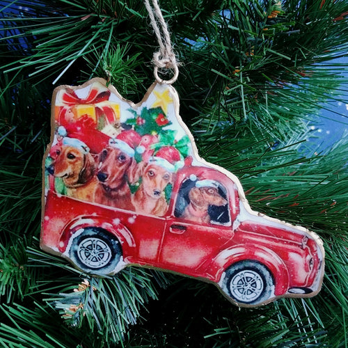 Metal Ornament: Truck with Dog Driver  #A90000-2