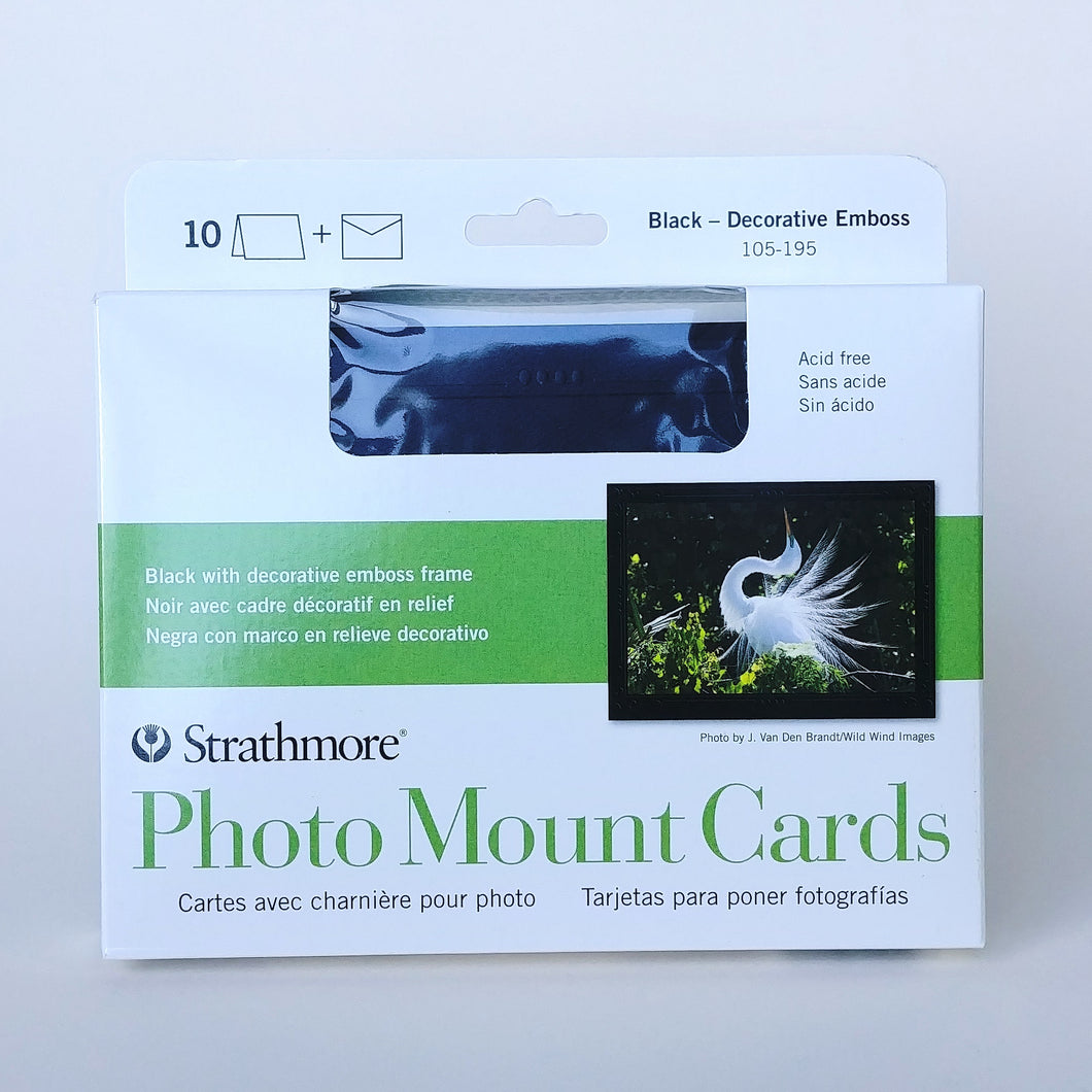 Strathmore Photo Mount Cards- Decorative Emboss Black  #105-195