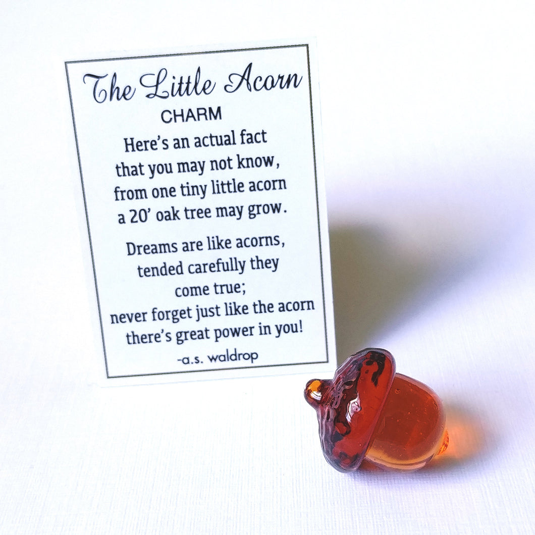 Mini Glass Charm- Acorn