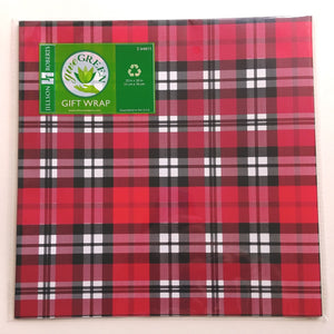 Wrapping Paper- Red & Black Tartan  F761