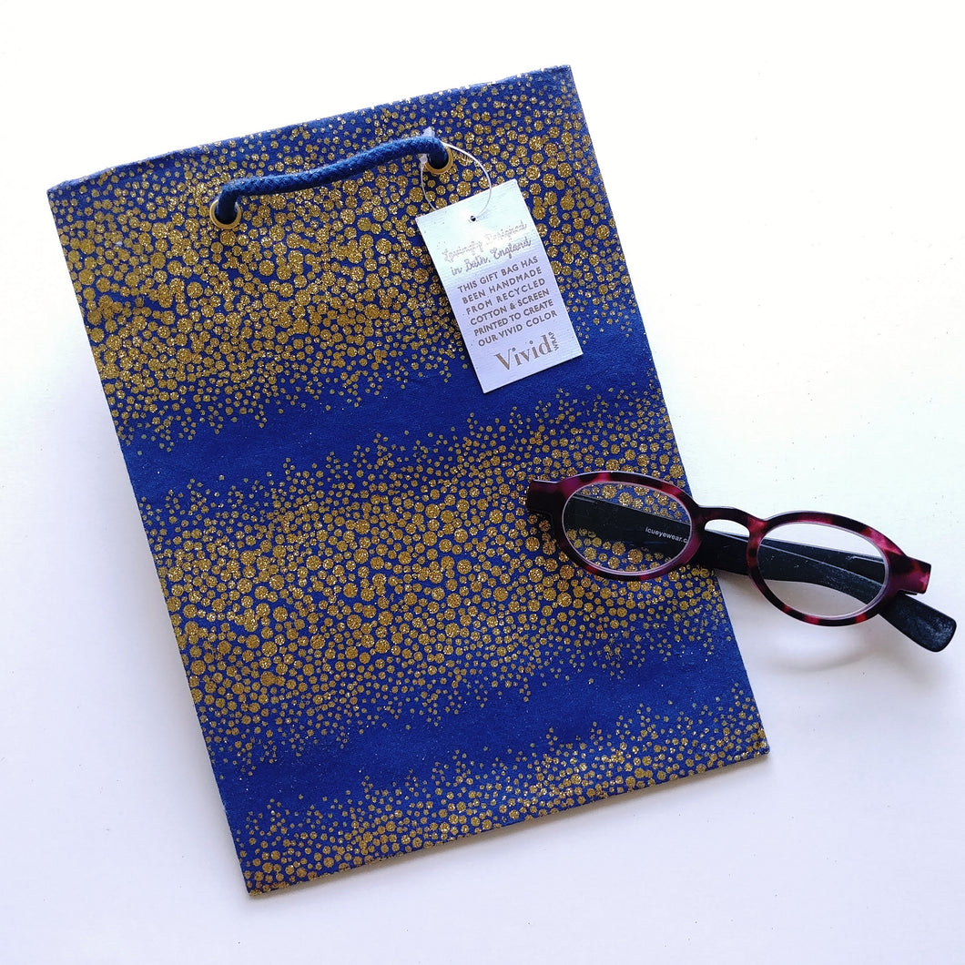 Vivid Cotton Medium Gift Bag- Navy & Gold  V42918