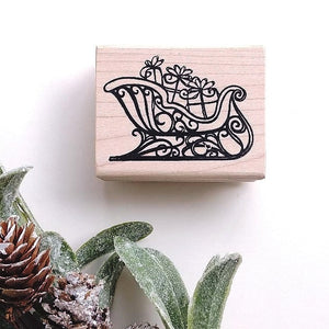 Sleigh with Presents Rubber Stamp