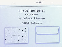 Load image into Gallery viewer, Gold Dots Thank You Notes    #9007