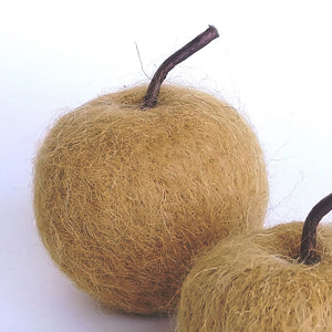 "Felted Wool Apple- 3"" Large in Ochre, Grey or Natural  CF3182A"