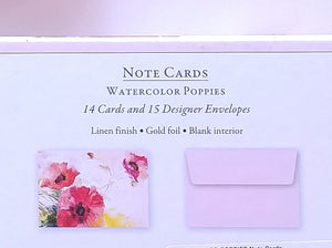 Watercolour Poppies Note Cards