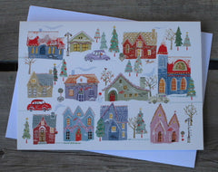 Decorated Houses Deluxe Boxed Holiday Cards (20)