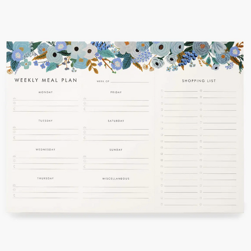 Rifle Weekly Meal Planner- Garden Party Blue   NPL003
