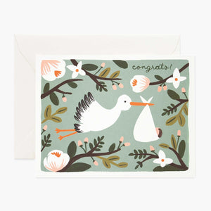 New Baby Card- Rifle Paper Co: Stork #K-005