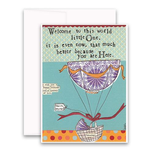 New Baby Card- Curly Girl: Welcome Little One    #SSNC45