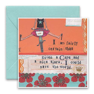 Friendship Card- Curly Girl: Cape and Tiara    #SQCT6
