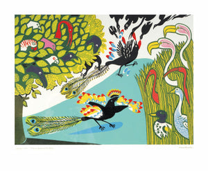 Edward Bawden (1903-1989)- Linocut: Daw in Borrowed Feathers    EB1188
