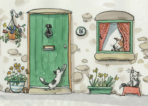 Two Bad Mice Card- Green Door Cat   #M298