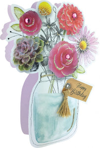 Second Nature Birthday Card- Jar of Blooms  #PDZ008