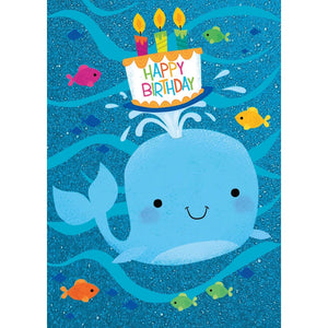 Peaceable Kingdom Birthday Card: Whale with Cake  #5593GL