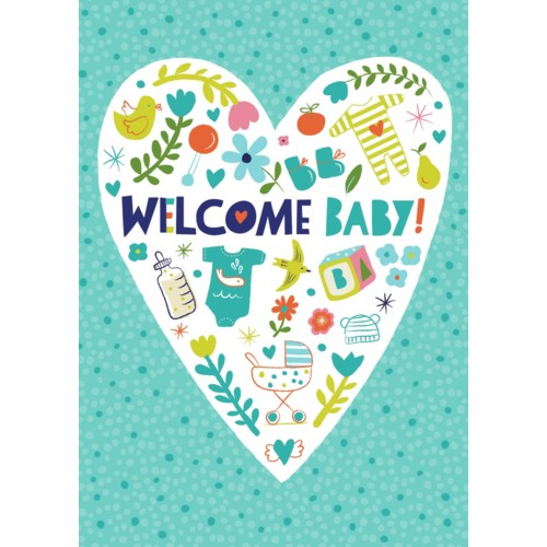 New Baby Card- Peaceable Kingdom: Flocked Heart  #5820F