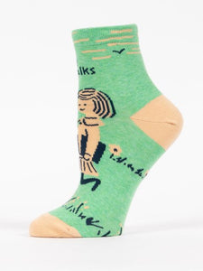 Women's Ankle Socks: I Like Long Walks to the Library   SW655