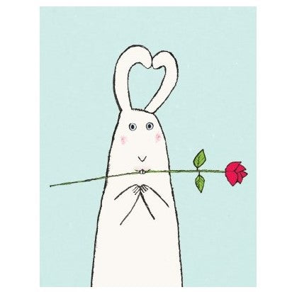 Love Card- Halfpenny Postage: Rabbit Rose  #HP413