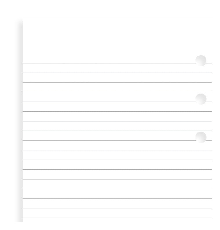 Filofax Personal- Refill Pages: Lined White   #B133008