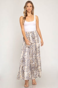 She + Sky Wide Leg Snake skin Silky feel Pants with Tie Front