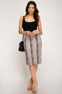 She + Sky Soft Faux Suede Snakeskin Straight Skirt