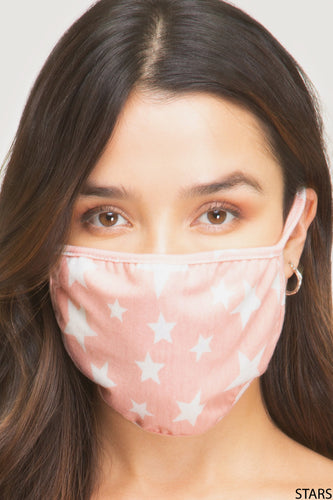 Soft Pink/White Star print Ear loops Facial Mask Face Covering