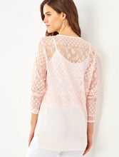 Load image into Gallery viewer, Soft Crochet lace 3/4 sleeve tunic 3 Colors S-XL Charlie Paige
