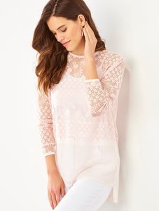 Soft Crochet lace 3/4 sleeve tunic 3 Colors S-XL Charlie Paige