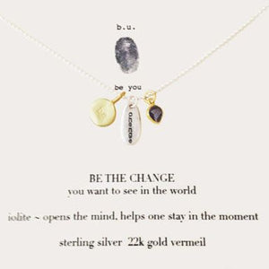 "Sterling Silver b.u 16""-18"" genuine stone Pendant ""Be the Change"""