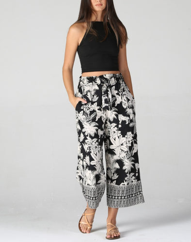 Floral Crop Wide Leg Palazzo Pants by Angie