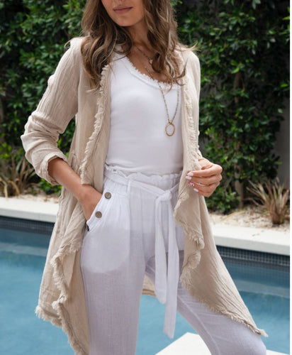 Frayed Edge Linen Gauze Cardigan with pockets Made in Italy