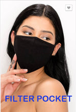 Load image into Gallery viewer, Camo print or solid Black fabric breathable washable facial mask with filter pocket