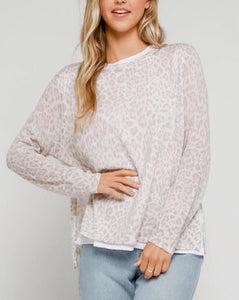 Soft Blush Leopard layered Top by Olivaceous S M L