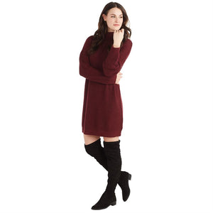 Mud Pie Sparrow Burgundy Knit Sweater Dress