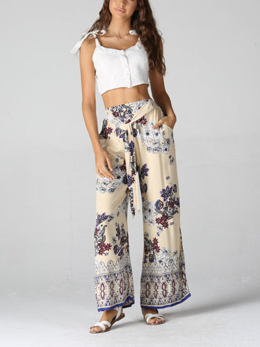 Floral Lightweight Palazzo Pants with tie waist by Angie