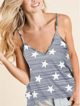 Load image into Gallery viewer, Juniors Ladies Star Print Top with Camouflage Straps in 2 Colors