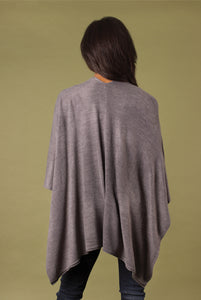 Heathered Bordeaux Cardi Wrap Poncho Putty