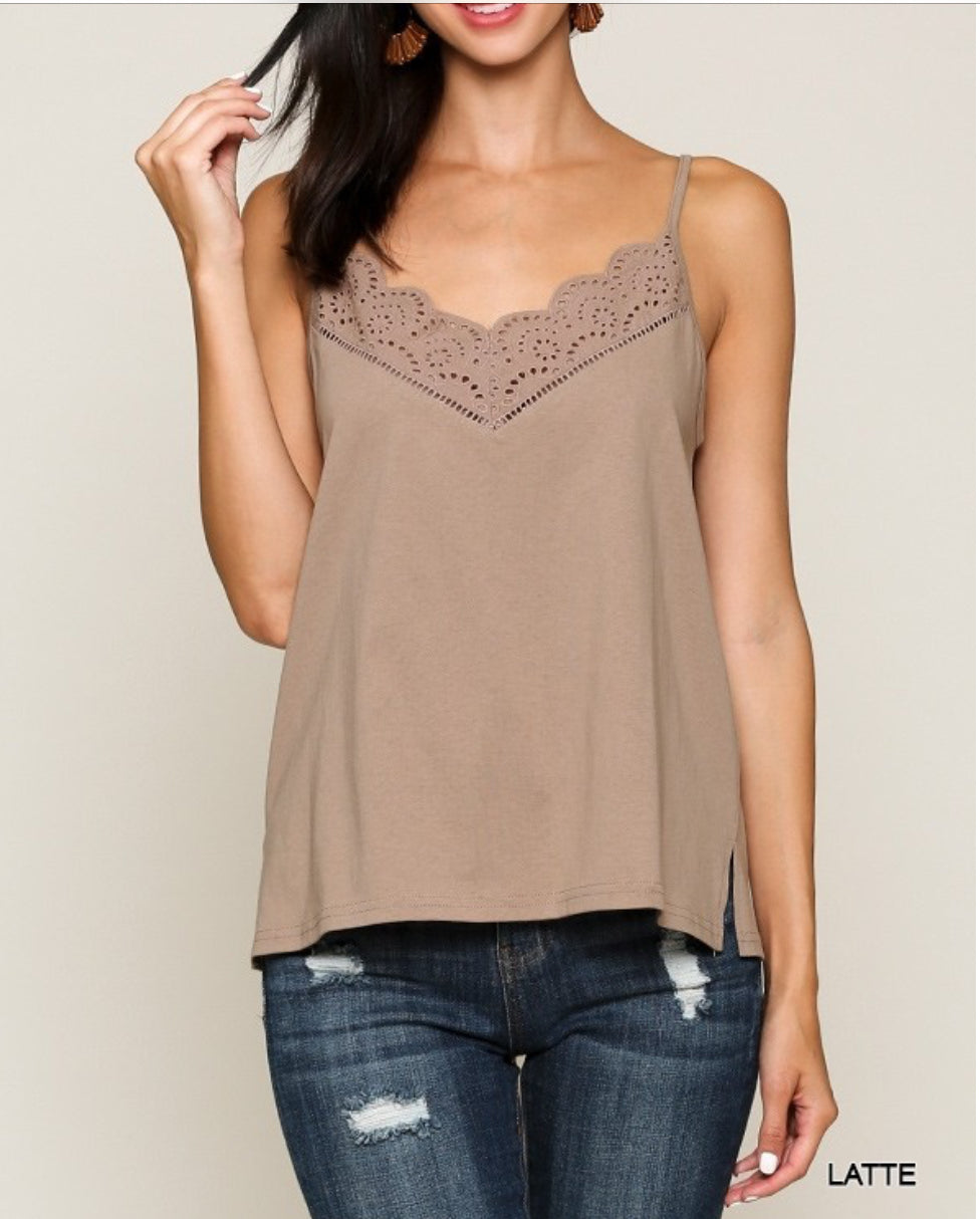 Eyelet Lace 100% cotton Cami Top with adjustable straps S M L