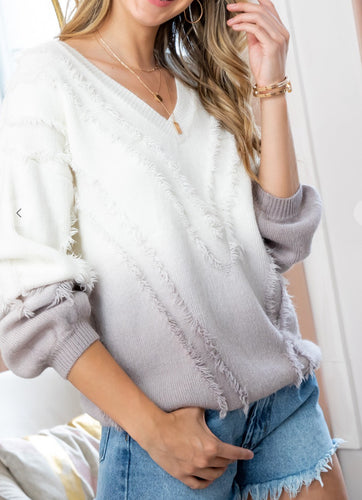 Ombré Sweater with Fringe detail