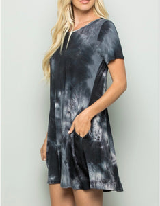 Tie dye black tshirt style Swing Dress with pockets