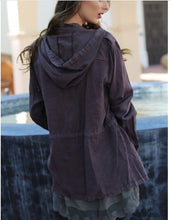 Load image into Gallery viewer, Super Soft Charcoal Utility Jacket With Hood and Tie Waist