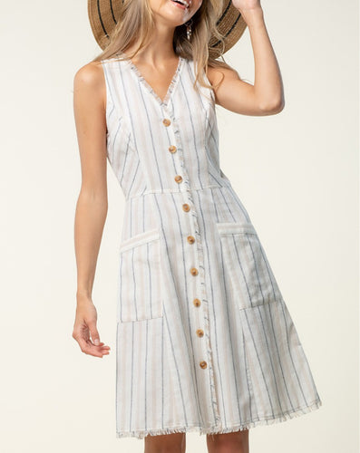 Striped Sleeveless Button up front Dress with Frayed edges and hem