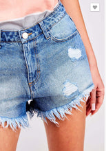 Load image into Gallery viewer, Women juniors medium wash denim jean shorts with frayed bottom