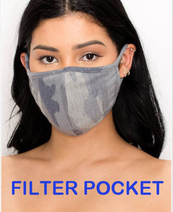 Camo print or solid Black fabric breathable washable facial mask with filter pocket