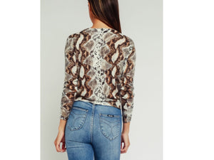 PYTHON PRINT SOFT SWEATER WITH FRONT TIE