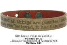 Load image into Gallery viewer, Leather Scripture Bracelet Unisex