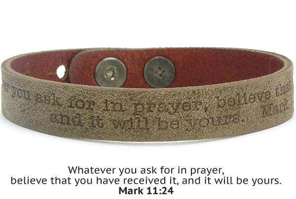 Leather Scripture Bracelet Unisex