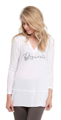 Bee Attitudes Grateful Long Sleeve Fitted Activewear Top