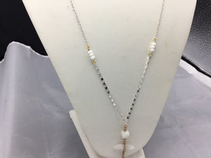 Nakamol Chicago Silver & Rose Gold Moon Stone Long Necklace