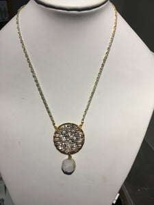 Circle Necklace with beads and pearl and a druzy drop