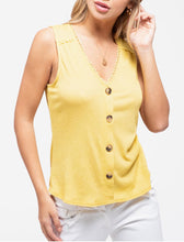 Load image into Gallery viewer, Blu Pepper Crochet Trim V Neck button Up top 3 Colors! S M L